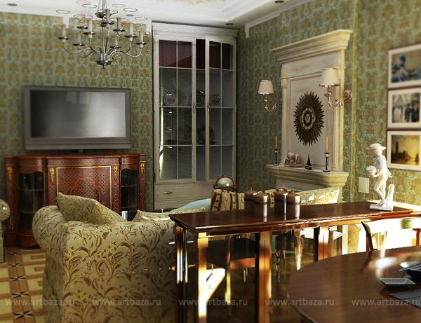 Дизайн комнаты с эркером 24 кв