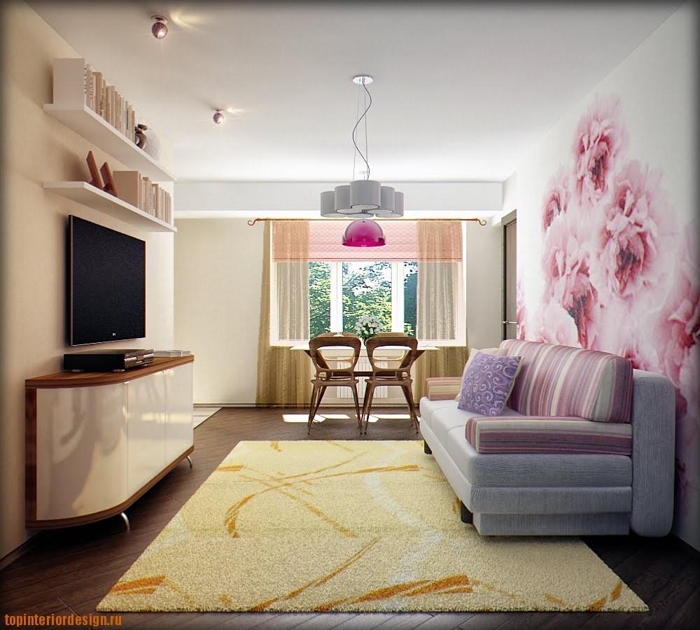 Интерьер комнаты 16 кв.м с обоями
